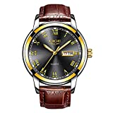 Orologio da uomo LIGE con quadrante nero Cinturino in pelle marrone Orologio Fashion Business Style impermeabile