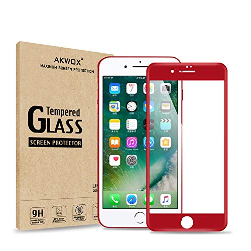(Pack of 2) Screen Protector for iPhone 7 8 (4.7inch), Akwox Full Cover iPhone 8 7 Tempered Glass Screen Protector with ABS Curved Edge Frame, Anti-Fingerprint HD Screen Protector Film for iPhone 8 7 (Red)