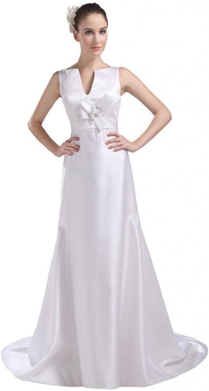 Dearta Women's ALine VNeck Court Train Charmeuse Wedding Dresses