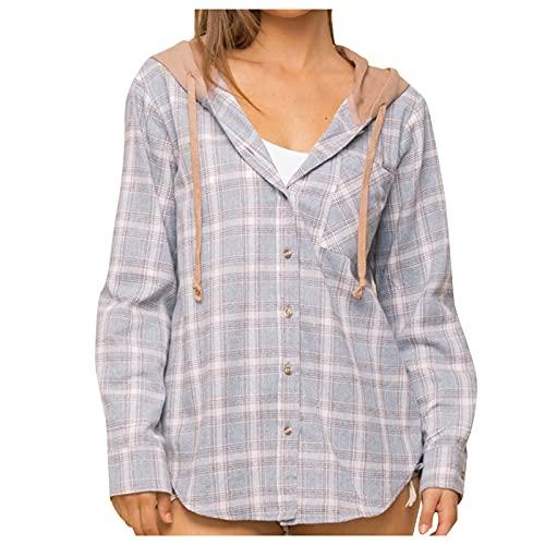 Dasongff Chaqueta a cuadros para mujer con capucha, blusa de manga larga a cuadros, camisa de franela de...