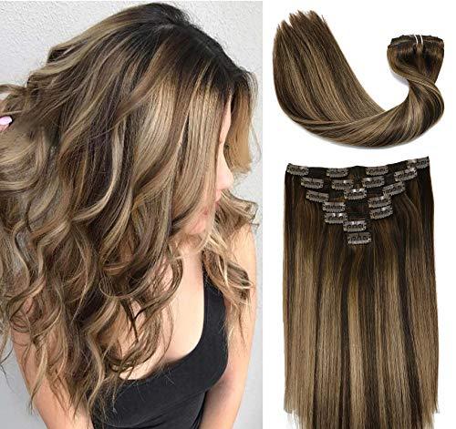 Clip in extensions echthaar 9A Brasilianisches Haar 120g 7pcs Schokoladenbraun bis Dunkelblond Highlight Schokoladenbraun Vollkopf Seidig Gerade 100{a79cea5dfdfdc4cb414babdd72c817a4aa1aa089a8c985b864343bc5caf95732} Echthaar Clip In hair Extensions 16 Zoll/40 CM