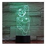 Clásico Juego de Dibujos Animados Figura Super Mario Bros Luigi Sapo Dragón 3D LED Lámpara USB Acrílico Novedad Regalo de Iluminación de Navidad Juguete Táctil