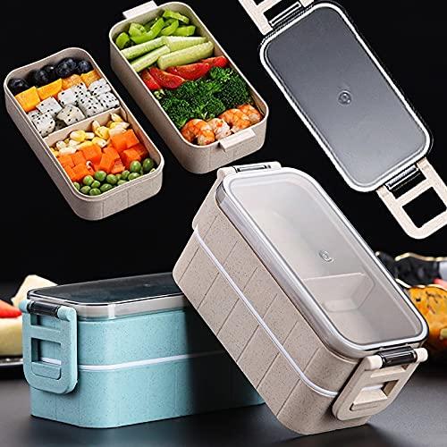 PPuujia Caja de alimentos Contenedor de alimentos para alimentos Bento Box Japonés Térmico Fiambrera eléctrica calentada para niños con compartimentos lonchera (Color: Doble botón beige)