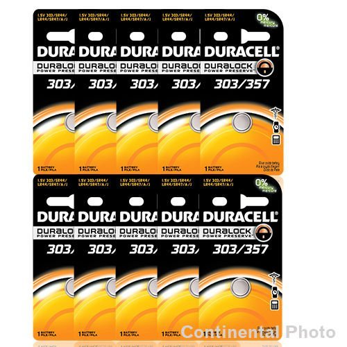 20 Duracell 357 303 A76 PX76 SR44W/SW LR44 AG13 Silver Oxide Battery