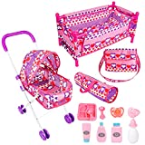 MerryXGift Baby Doll Stroller Set - Doll Nursery Playset Include Doll Pack N Play, Doll Bedding Kit, Travel Bag, Doll Care Set Suitable for 16 Inch Doll
