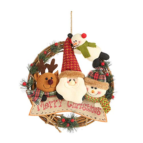 Yuanshenortey Christmas Tree Hanging Wreath Garland Door/Wall Ornament Festival Decorative Accessories