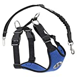 SlowTon Dog Car Harness Plus Connector Strap, Multifunction Adjustable Double Breathable Mesh Fabric Vest Harness with Safety Seat Belt in Car Vehicle for Dogs Travel Walking