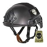 Combate ajustable tipo MH rápido casco 3colores (negro/de/FG) para ejército táctico militar para Paintball caza CQB Shooting Gear (M/L) (L/XL), color negro, tamaño large/extra-large