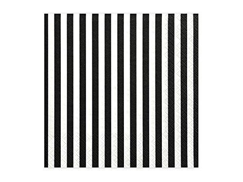 Partydeco - Verkauf durch luftballonwelt Servietten Streifen schwarz weiß, ca. 33 x 33 cm, 20 St.