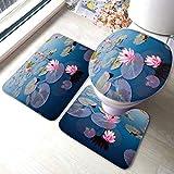 XHYYY - Juego de alfombras de baño antideslizantes con diseño de flor de loto y tapa de inodoro