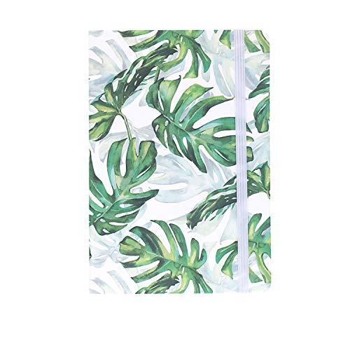 A5ゴムバンドハードカバーエグゼクティブノート罫線入りストラップノート, Tropical Plants 3,Monstera with Shadow
