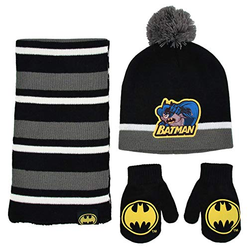 DC Comics boys Scarf and Mitten Set Cold Weather Hat, Black/Grey, 2-4T US