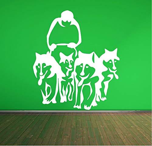zwyluck een groep van honden, husky, kunst, tattoos, muurstickers, slede, vinyl, muurschildering, woonkamer, huisdecoratie, muurstickers, 34 x 50 cm