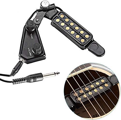 LERTREEUK - Pastilla magnética para guitarra acústica con 12 agujeros de sonido y control de volumen, cable de 3 m
