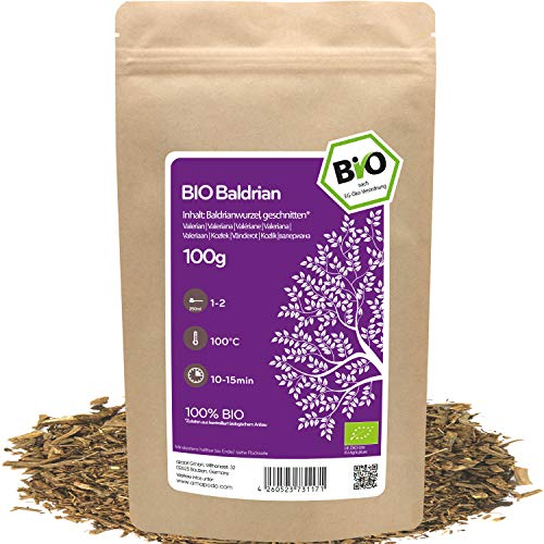 amapodo - Baldrian Tee Bio 100g - Baldrianwurzel geschnitten - Baldriantee - Valerian Tea - Gute Nacht Tee - Valeriana officinalis - kleine Geschenke für Frauen & Männer