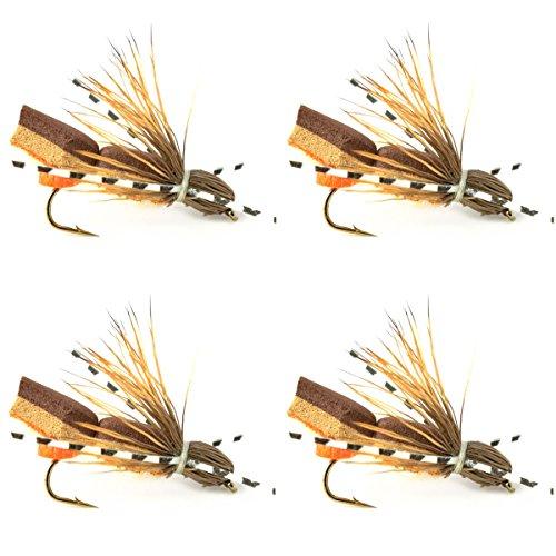 Bullethead Cicada Dry Fly Fishing Flies - 4 Flies - Hook Size 10 Rubber Legs