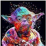 Pintura sin marco por números Diy Star Wars Yoda Mast figura pared...