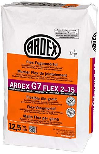 ARDEX G7 FLEX 2-15 Flex-Fugenmörtel 12,5 kg - zementgrau - für breite Fugen zum Fugen. Im Innen- und Außenbereich, an Wand und Boden.