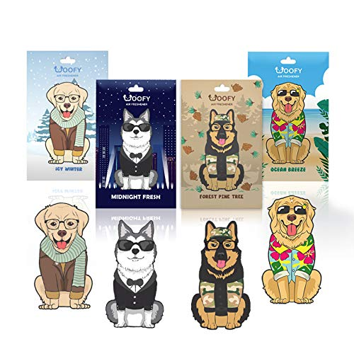 Woofy Hanging Car Air Freshener - Adorable Doggy Design - [Pack of 4: Forest Pine Tree, Midnight Fresh, Ocean Breeze, and Sweet Mandarin ] - Long Lasting Scents (Assorted Big Doggy)