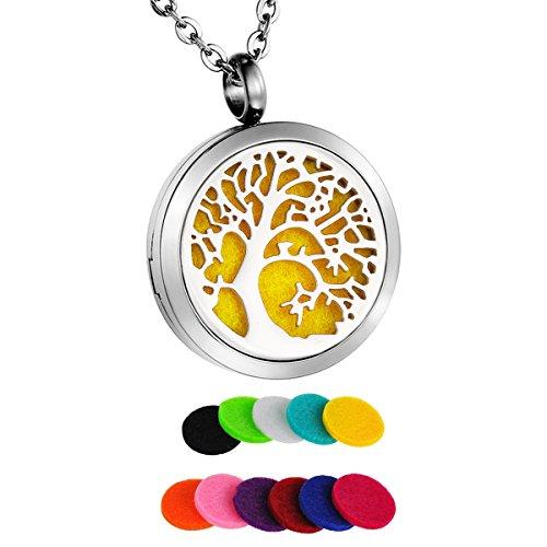 HooAMI parfum halsketting levensboom hanger voor aromatherapie etherische olie met 11 pads 60 cm ketting