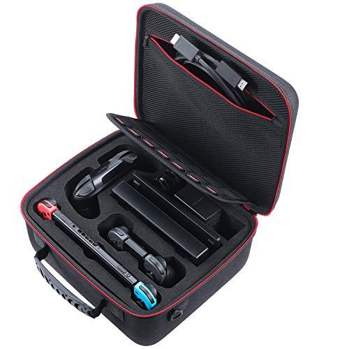 MPTECK Funda Carcasa Rígida de Viaje Transporte Estuche Dura para Nintendo Switch Consola Adaptador AC Joy-con Grip Pro Controller Cable HDMI Joy-con y Otros Accesorios
