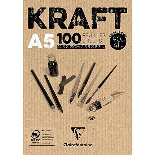 Clairefontaine 96544C Blocco Incollato Kraft, A5, 100 Fogli, Marrone, Carta, 14,8x21