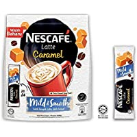Nestle Malasia 3 en 1 Café Nescafé Latte Original Avellana Caramelo Coffee Instantáneo Aroma Rico Bebidas Halal Kopi Hora del té Desayuno 1 paquete (20 sobres)