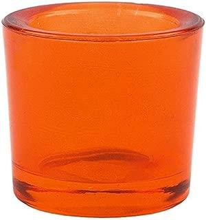 Bluecorn Beeswax Heavy Glass Votive and Tea Light Candle Holders (1, Orange)
