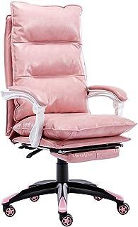 Silla para Juegos Silla Profesional para Carreras Silla reclinable Rosa para niña, Silla de Oficina ergonómica, Silla giratoria de Cuero PU (Color : Pink, Size : 60 * 60 * 123cm)