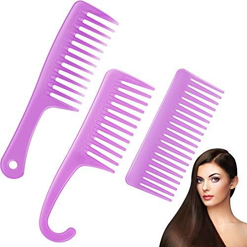 3 Stücke Breiter Zahn Kamm Entwirrender Großen Zähnen Duschen Kamm mit Haken Salon Shampoo Antistatischer Haar Kamm für Entwirrender Lockig Lang Nasse Trocken Glatt Haar (Lila)