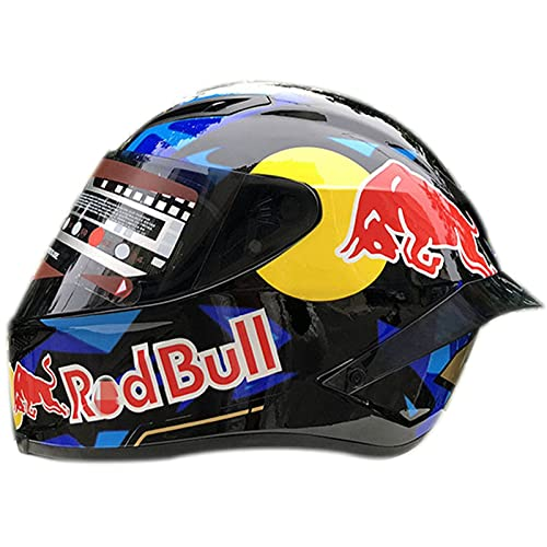 STTTBD Casco de Motocicleta Integrado,Cascos modulares de Moto de Visera Doble con Visera Completa para Hombres y Mujeres Adultos Certificación ECE Casco Red Bull C,XL=(59-60CM)