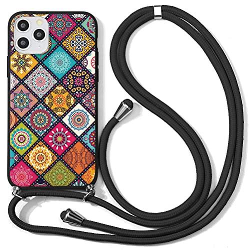 Yoedge Funda para Xiaomi Redmi Note 10 (5G)/ Poco M3 Pro -6,5' Carcasa de Teléfono Silicona Mate AntiChoque Suave TPU con Cadena Cordón Ajustable Cuello Colgante Correa para Redmi Note10, Ajedrezado 1