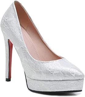 Pointed Pattern Platform High Heels For Banquet Wedding Dress Daily (Color : White, Size : 38)