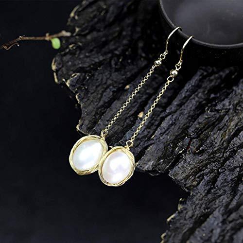 LOt Pendiente de Gota para Mujer S925 Pendientes de Perlas Femeninos Hechos a Mano en Oro de Plata Esterlina el Disfraz Combina con Todosperla