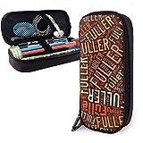 Fuller - Estuche de lápices de cuero de gran capacidad de apellido americano, lápiz, lápiz, papelería, organizador, organizador de oficina, bolsa de cosméticos portátil