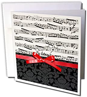 3dRose Musical Notes with 2D Red Ribbon Bow Graphic Piano Sheet Music Musician Gifts Greeting Cards, Black And White, Set of 6 (gc_120275_1)