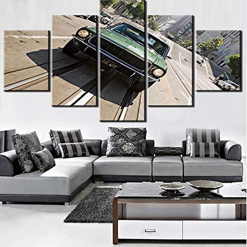 ZDFDC Bullitt Auto Große Moderne Wandkunst Leinwandbilder Malerei Poster Print für Wohnzimmer Wohnkultur 5 Pieces-40x60 40x80 40x100 cm kein Rahmen