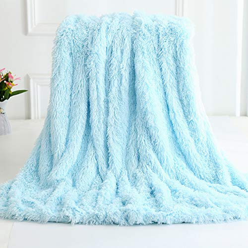 Nicole Knupfer Manta de pelo largo de microfibra para el aire acondicionado, para sofá o cama, color azul claro, 160 x 200 cm