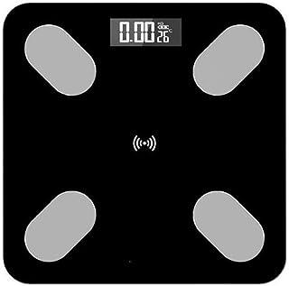 KANJJ-YU Báscula de pesaje de baño, báscula de grasa corporal, báscula científica inteligente LED digital de equilibrio de peso, aplicación Bluetooth Max 180 kg, casa negra