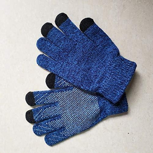 LOLIRYZ Knitted Gloves Autumn Winter Touch Screen Women Men Plush Thin Solid Warm Mittens Velvet Female Gloves - (Color: 3, Gloves Size: Free Size)