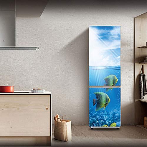 YALINA Adesivi per Frigorifero Copertura per Frigorifero Porta Paesaggio Pianta Mare Vinile Autoadesivo Mobili da Cucina Decor Wrap Freezer