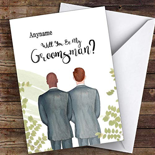 Kale zwarte gember haar zal je mijn Groomsman gepersonaliseerde groeten trouwkaart