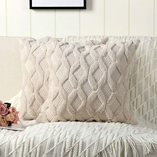 Madizz 2er Set Sanft Plüsch Kurze Wolle Samt Dekorativ Zierkissenbezüge Stil Kissenbezug für Sofa für Schlafzimmer Weiß 50x50 cm Quadrat