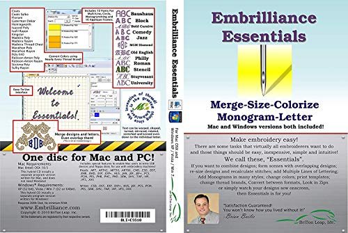Embrilliance Essentials, Embroidery Software for Mac & PC NO CD/DVD/ | Download link via Amazon Message/Email) | Delivery within 24 Hours