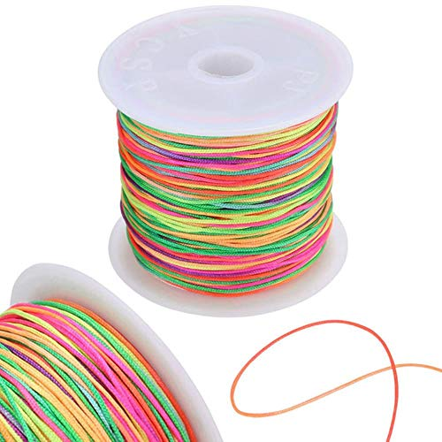 LLAAIT 45M / Rollo 0.8mm Hilo Multicolor Cordón de Nudo Chino Cordón de Nylon Macrame Pulsera de Cola de Raton Cuerda Trenzada Cuerda de Hilo de Tejer, Colorido