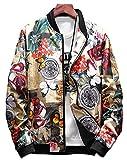 LifeHe Men's Printed Slim Fit Lightweight Bomber Jacket Coat (Flower, M)