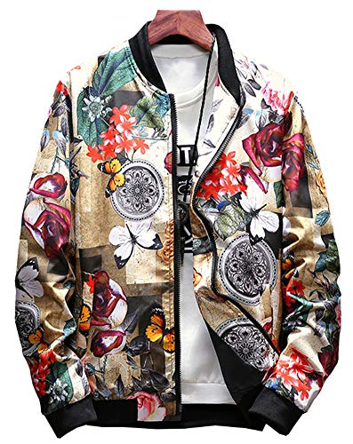 LifeHe Men's Japanese Printed Slim Fit Lightweight Flight Bomber Jacket Coat (Flower, XL)