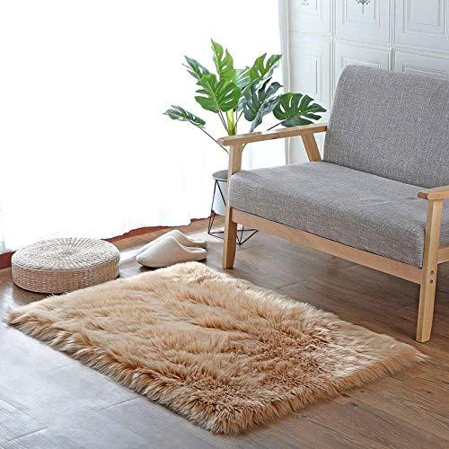HEQUN Faux pelliccia di agnello di pecora tappeto, pelliccia sintetica decorativa Super Soffice Pelliccia di agnello imitazione Tappeto Longhair effetto pelliccia divano letto(Brown, 60×90)