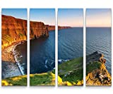 Paul Sinus Art Cliffs of Moher - Sonnenuntergangsstimmung - 4 teiliges Canvas Bild 4x30x90cm