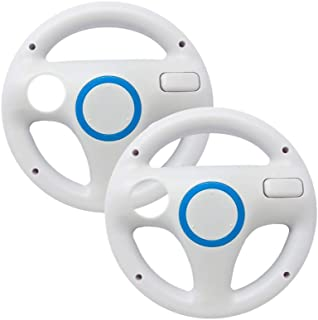 Old Skool Mario Kart Racing Wheel Compatible with Nintendo Wii and Wii U 2 Pack - White